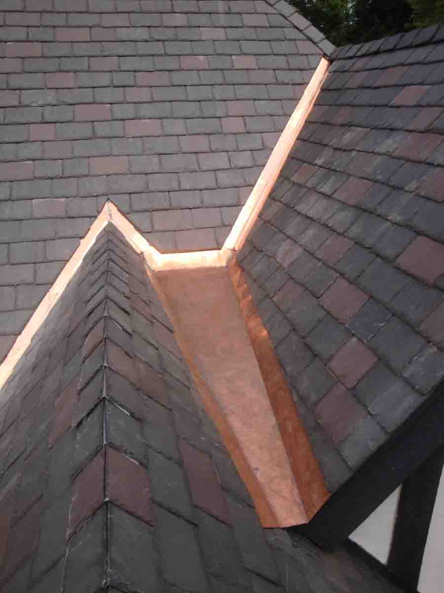 Replaced Copper Gutters Valleys At Slate Roof Project